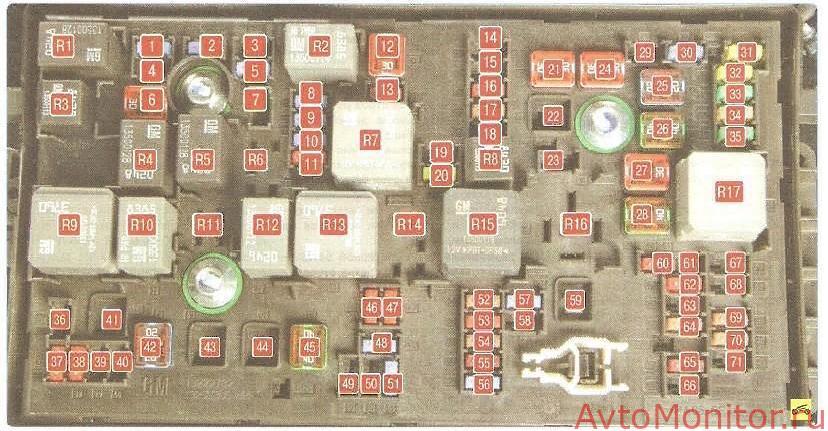 Схема расположения предохранителей на подкапотном блоке Cruze