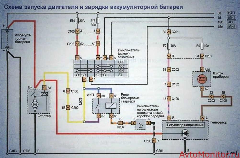 Схема подключения стартера Лачетти