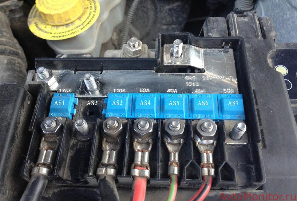 Предохранители высокой мощности подкапотного блока типа A на VW Polo