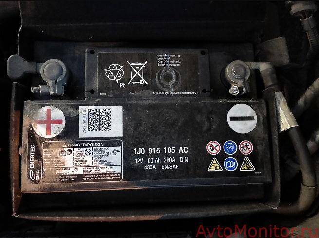 Внешний вид оригинального АКБ на VW Jetta 5