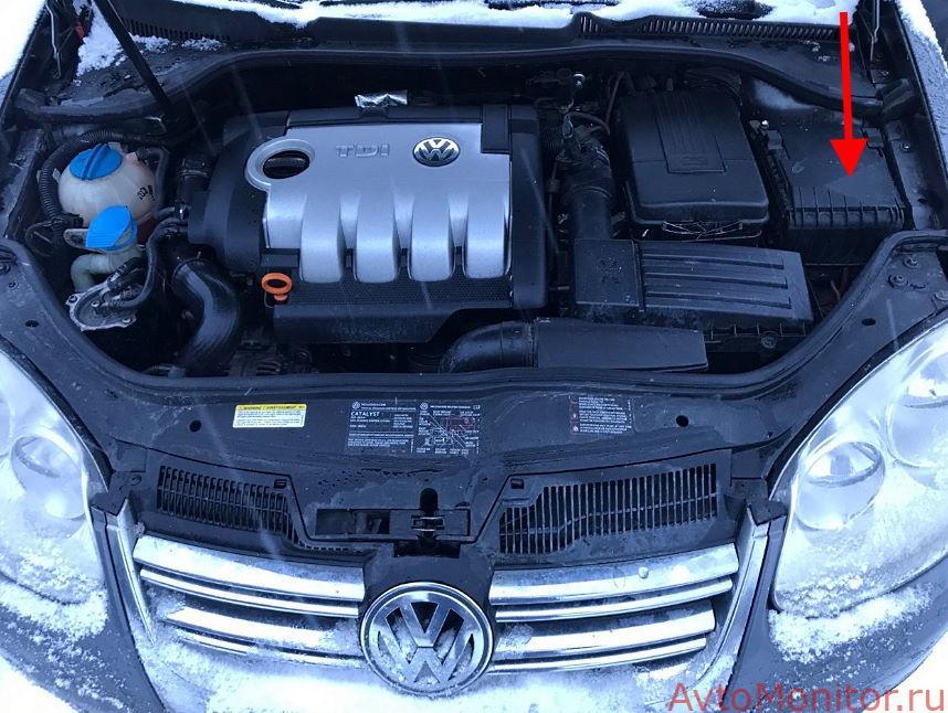 Расположение подкапотного блока на VW Jetta 5