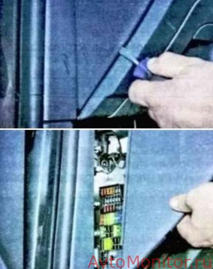 Открытие заглушки панели