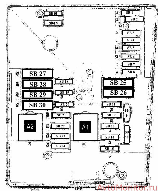 Предохранители в коммутационном блоке: вариант исполнения №1
