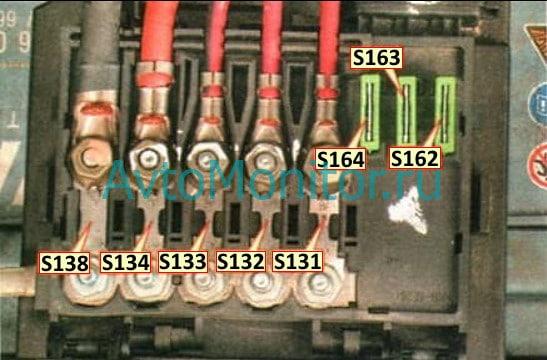 Схема блока с плавкими предохранителями высокой мощности
