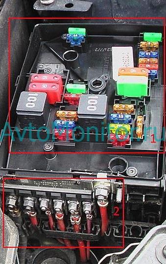 Расположение монтажного блока предохранителей под капотом в VW Golf 6