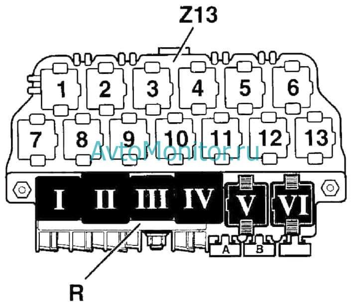 Схема основного салонного блока реле