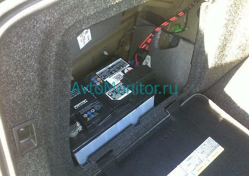 Расположение АКБ в багажнике