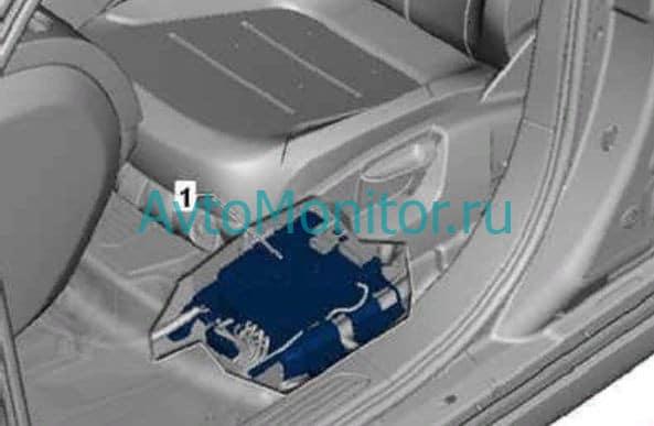 Расположение блока предохранителей под сиденьем на Volkswagen Touareg II